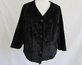 Vintage Black Faux Fur Coat Jacket Velour Cropped  3/4 Sleeve