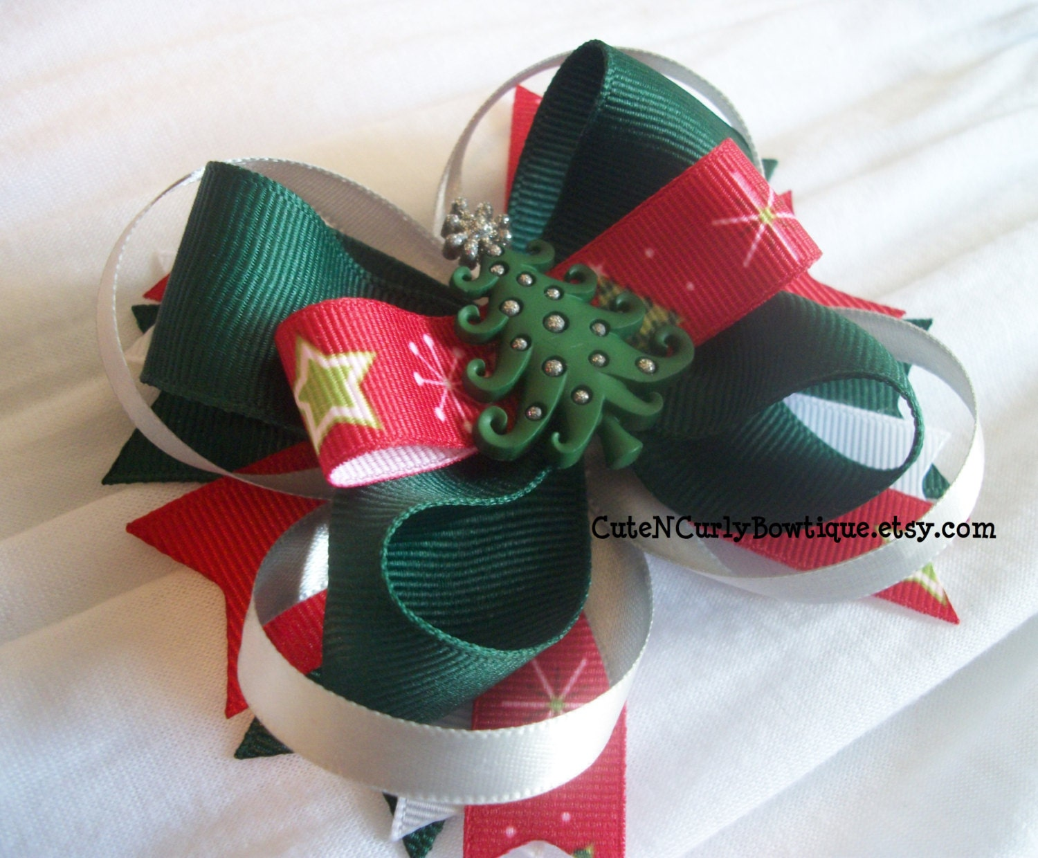 Christmas Tree Hair bow Girls Red White Bows by ...