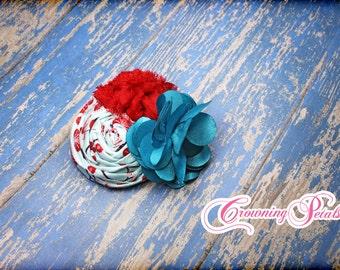 Aqua, Teal, Red Hair Accessory, Flower Hairpiece, Fabric Flowers Brooch, Baby Girl Headband, Turquoise Hair Bow, Hair Clip, Infant  Headband