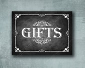 Chalkboard Style GIFTS printed sign - Professionally Printed Wedding sign - Rustic Rose Design - your choice of size