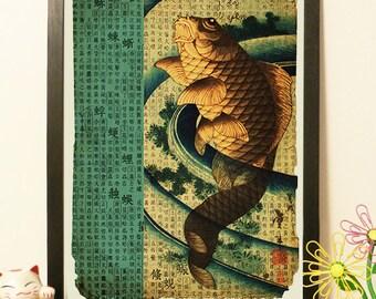 Japanese Fish koi  - Vintage Japan paper Dictionary Print