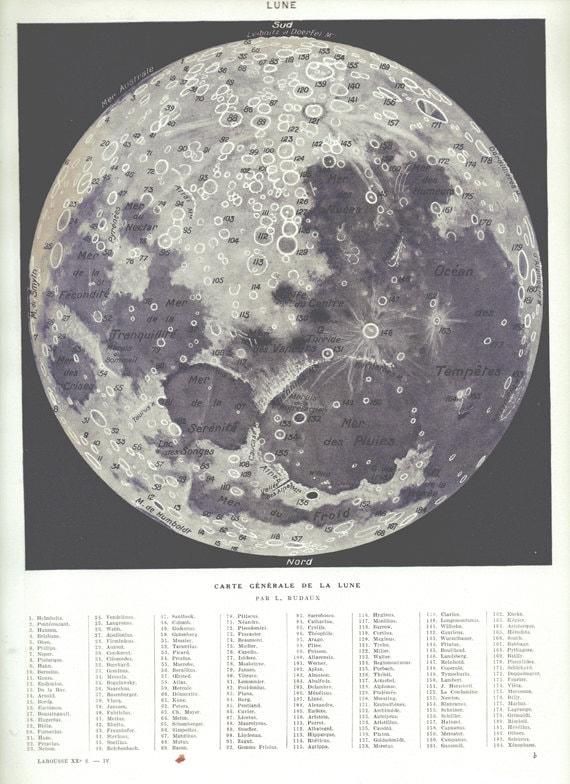 1936 Vintage Moon Print Antique Astronomy Print Moon
