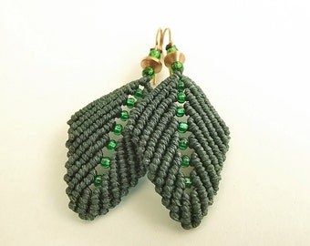 Macrame Earrings - Pine Green Leaf Earrings