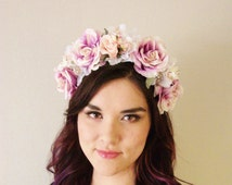 Woodland Purple Peach Rose Pink Cherry Blossom White Flower Crown - Rose Crown, Floral Headband - il_214x170.509722111_1u06