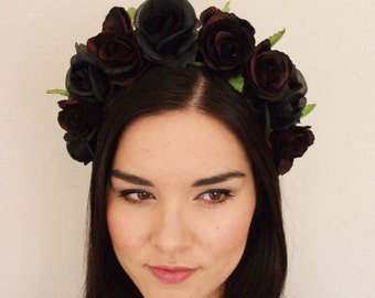 Red Black Rose Flower Crown - floral headband, flower crown, floral wreath, fascinator, festival crown