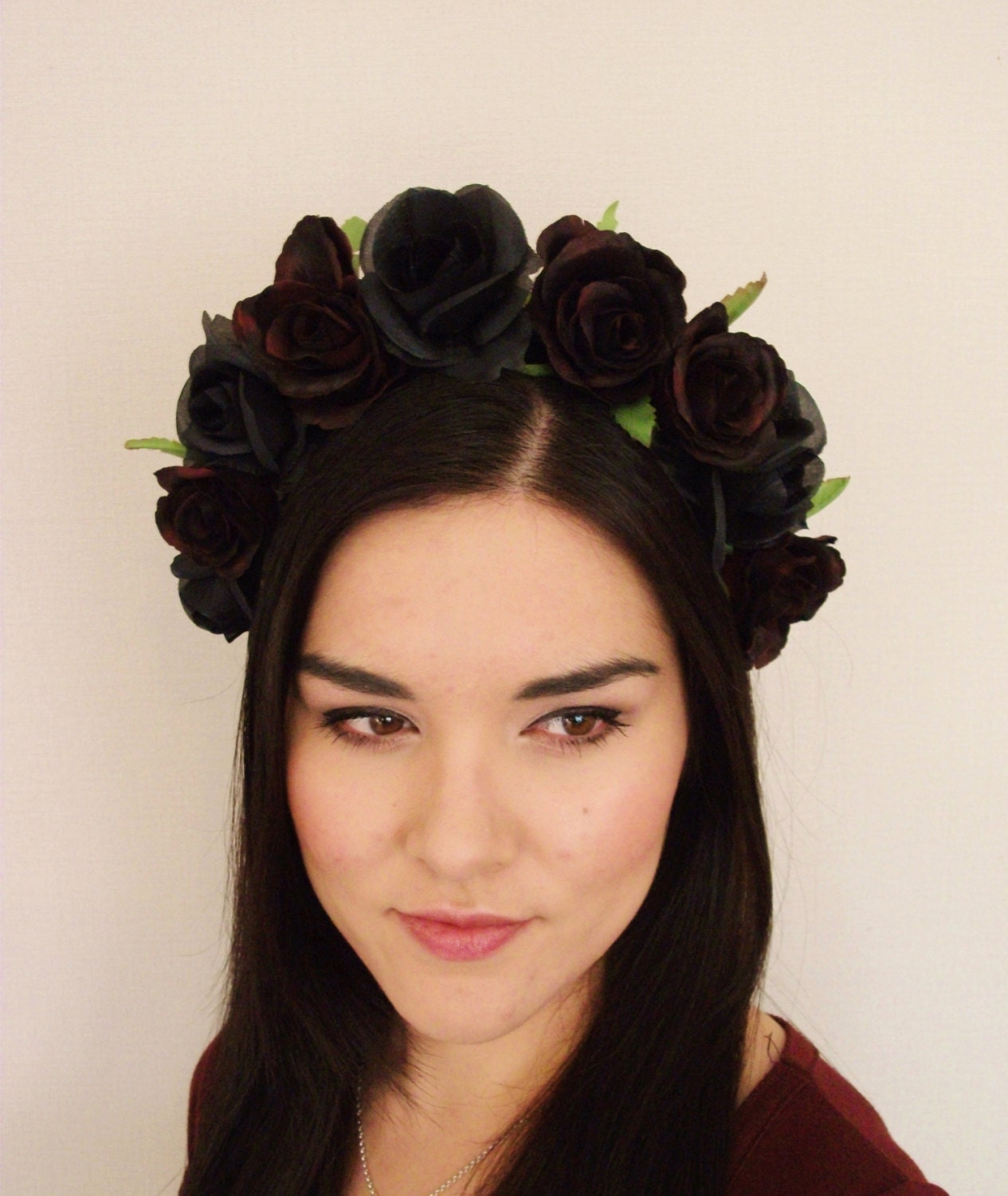 Red Black Rose Flower Crown floral headband by MissWildFlowers