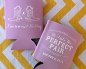 Perfect pair wedding can cooler, We Make the Perfect Pair Can Coolers, Country Rustic Wedding Favor, Cowboy Boot coolie, Southern Wedding