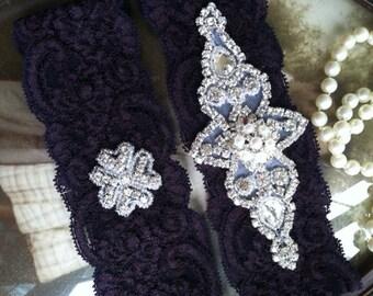 SALE-Wedding Garter-Purple Lace Garter Set-Pearl-Eggplant-Rhinestone Garter-Applique Garter-Vintage-Bridal Garter-Vintage Garter-Toss Garter