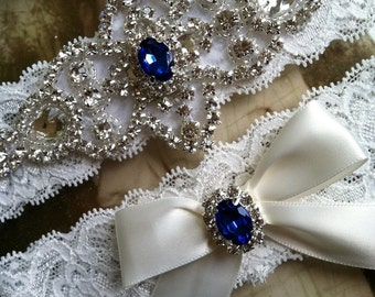 Wedding Garter-Garters-Bridal Garter-Blue-Pearl garter-Keepsake-Something blue-Ivory Lace Garter Set-something blue-bridal white-off-white
