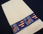 USA Flag Terrycloth Hand Towel Premium Large Thick