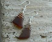 Genuine Brown Sea Glass Earrings