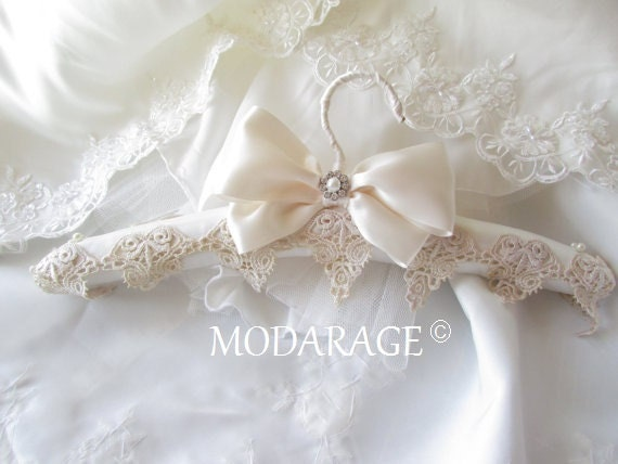 Sale padded wedding dress hanger white or ivory by for Wedding dress hanger amazon