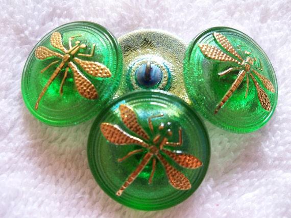 Czech  Glass   Buttons  4 pcs  DRAGONFLY  22mm    IVA 096