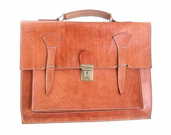 SATCHEL natural tan leather