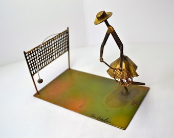Tennis Player Metal Sculpture. Square Nail Figurine. Woman Tennis Player.  Backhand. Signed Art. VD1