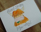 Herd you're Moo-ving. Individually made, hand painted Highland cow card to announce a change of address or celebrate a new house
