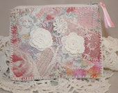 Embroidered Patchwork Purse - Lace flowers on pink printed cottons