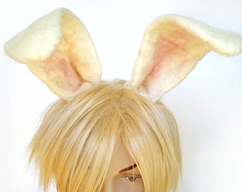 Easter Bunny Ears bendable clip on hair accessory for White Rabbit Alice in Wonderland cosplay bunny costume