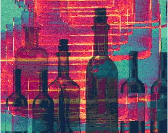 Wine Bottle Abstract Counted Cross Stitch Pattern Chart PDF Download by Stitching Addiction