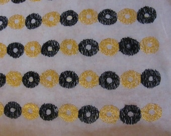 "Ivory Embroidered Silk Fabric Yardage - 21"" x 94"" Total - Unused"