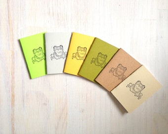 Tiny Journals: Notebooks, Frogs, Kids, Favors, Brown, Yellow, Green, Small Notebooks, Unique, Gift, Stocking Stuffer, For Him, For Her