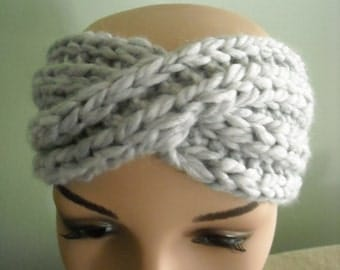 Chunky Turban Headband -  Gray - Handknit
