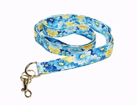 Packed Blue Daisy lanyard - Floral Fabric Lanyard - personalized lanyard