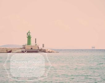 Lighthouse Photo. Ocean Photography. Green Lighthouse. Calming Art. Light Blue. Turquoise. Split, Croatia. Wall Art. Fine Art Photography.