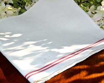 Vintage French Linen Kitchen Towel, Ivory Red Striped 3363