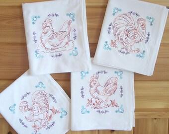 Flour Sack Embroidered Chicken Kitchen Towels
