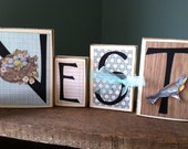 Nest Sign - Wood Blocks Sign Decor Garden Baby Shower Decor