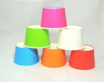 78- 8 oz Party Cups, 6 Colors! Ice Cream Cups Snack Cups Cupcake cups Fruit Cups Candy Cups Tough and Sturdy Cold Cups Hot Cups Paper Cups.