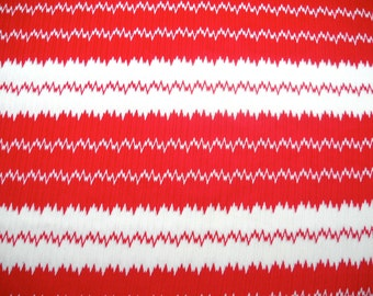 Retro Fabric, Geometric Stripes, Red and Ivory Polyester