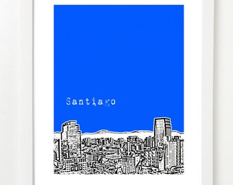 Santiago Art Poster, Chile Skyline Print - South America City Skyline Series - VERSION 2