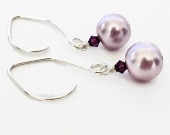 Radiant Orchid Jewelry, Purple Earrings, Purple Pearl Earrings, Lilac Earrings, Pearl Drop Earrings, Lavender Earrings, Purple Drop Earrings