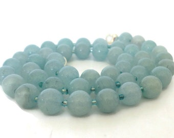 Blue Stone Necklace, Simple Stone Necklace, Amazonite Necklace, Sky Blue Necklace, Single Strand Necklace, Powder Blue