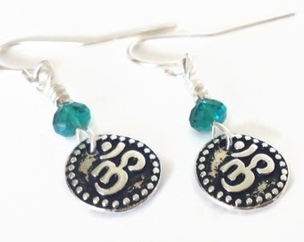 Yoga Jewelry, Yoga Earrings, Om Dangle Earrings, Yoga Jewelry, Om Jewelry, Om Charm, Silver Dangle Earrings, Om Charm Earrings, Yoga Gift
