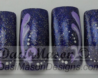 Silver and Violet Arabesque Instant Acrylic Nail Set