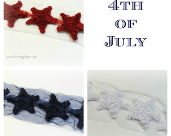 4th of July Star Trim - You choose the colors and quantity! - DIY Patriotic Baby Headband Supplies - Chiffon Rosette Star Applique