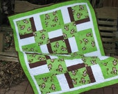 Baby Quilt - Wall Hanging - Monkey Play in Green