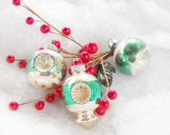 Vintage Indented Green and Silver Blown Glass Christmas Ornaments Set of 3, Mercury Glass, Retro, Antique, Cottage Chic