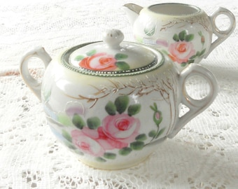 Vintage Hand Painted Nippon Sugar and Creamer Set, Antique, Wedding, Elegant Tea Party High Tea Social