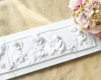 French Shabby Cottage Style White Cherubs Handpainted Teracotta Wall Plaque, Neoclassical, Reclaimed