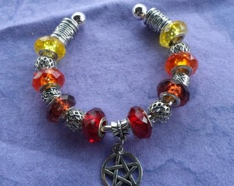 Pagan Wiccan, shades of fire, Euro style braclet