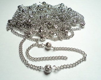10 ft-. Silver plated 6mm filigree bead curb link chain -m284