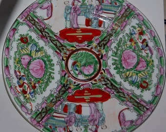 Asian inspired macua crafted decorative plate