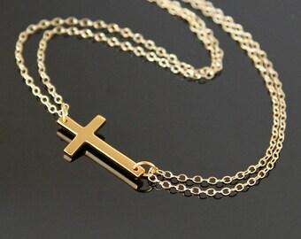 SIDEWAYS Cross Necklace, Gold Sideways Cross Necklace, Large Cross Necklace, Celebrity Cross Necklace.