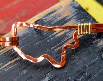 Mississippi shaped bracelet hammered in copper and wrapped in brass,  wire state outline Mississippi bracelet