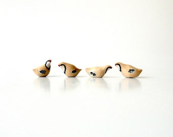 Miniature Ceramic Partridges Extra Small and Extra Cute, Bird Lovers' Gift by Eyal Binyamini, Studio Lind