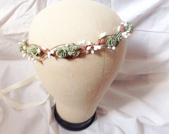 Tinkerbell's berry garland hairpiece - A green olive rose and berry hair wreath floral crown flower hair wreath garland